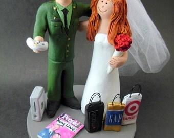 Bald Marine's Wedding Cake Topper,  Soldier's Wedding Cake Topper, Military Wedding Cake Topper, Army / Air Force / Navy Wedding Cake Topper