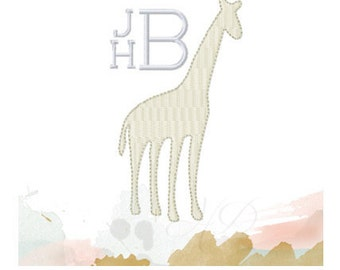 Giraffe Embroidery Design Machine Embroidery Font 4x4 5x7 6x10 instant download