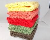 Crochet Dishcloth/ Washcloth - Handmade Wash Rag -Set of 5 Kitchen Dish Cloths-Extra large size-The Fall Stack Color