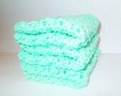 SALE-Set of 3 Crochet Dishcloths Washcloths Facecloths-Mint