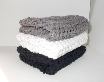 Crochet Dishcloth/ Washcloth - Handmade Wash Rag -Set of 3 Kitchen Dish Cloths-Bath cloths-Extra large size-Shades of Gray