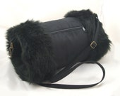 Looby Lou reversible hand muff/warmer with pocket ... Black fur and faux suede