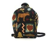90s Tapestry Backpack / Vintage 1990s Convertible Sling Bag / Novelty Moose Canoe Pine Tree Pattern Purse with Adjustable Shoulder Straps
