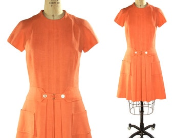 1960s Pleated Mod GoGo Dress / Vintage Coral Day Dress
