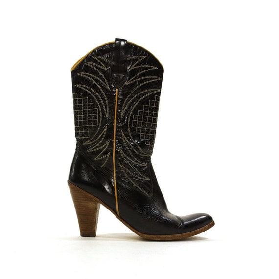 spanish cowboy boots vintage 1970s black leather high heel