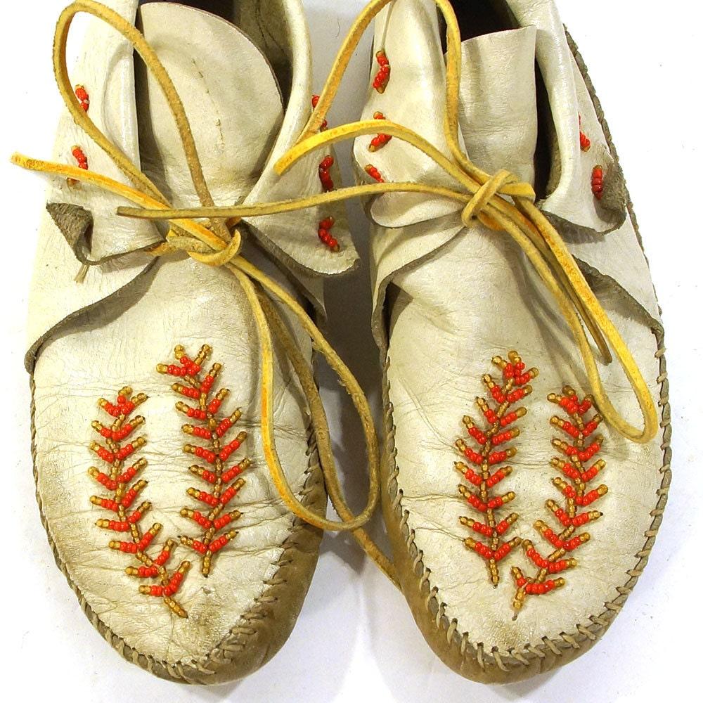 1960s Beaded Moccasins Vintage Ankle By SpunkVintage