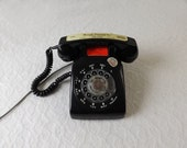 Vintage Black Rotary Telephone, Northern Telecom Made in Canada, Patent 1968-1970, Funeral Home Sticker, Works