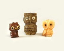 3 Vintage Owl Candles, Woodland Home Decor, Figural Bird Wax Candles, Instant Collection