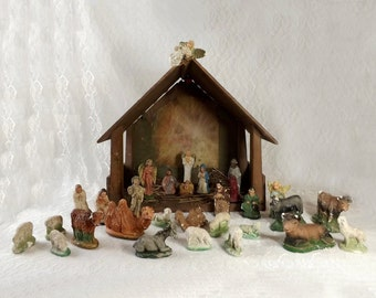 Vintage Nativity Set 30 Pc Chippy Chalkware with Lighted Wood Manger Mid Century Creche Animals Angels Shepherds