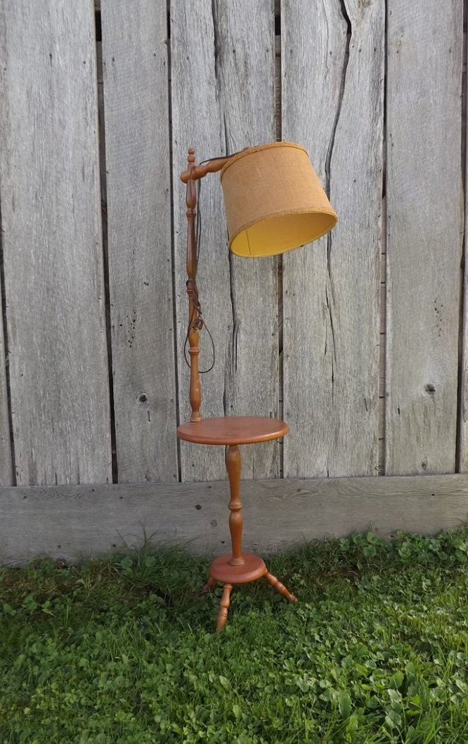 Vintage Wood Floor Lamp Table Burlap Shade Mid Century Side