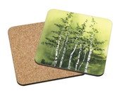 Coasters Mix & Match - Tranquil Grove - birch trees green forest aspen woods spring landscape watercolor painting Oladesign