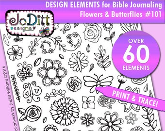 60+ Design elements for Bible Journaling - Flowers & Butterflies - Illustrated Faith Bible journaling PRINTABLES, Bible clipart traceables