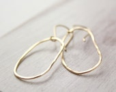 Organic Oval Hammered Gold Hoop Earrings