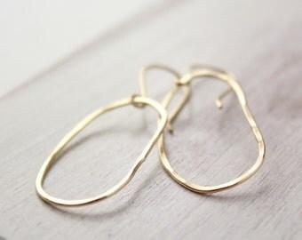Organic Oval Hammered Gold Hoop Earrings