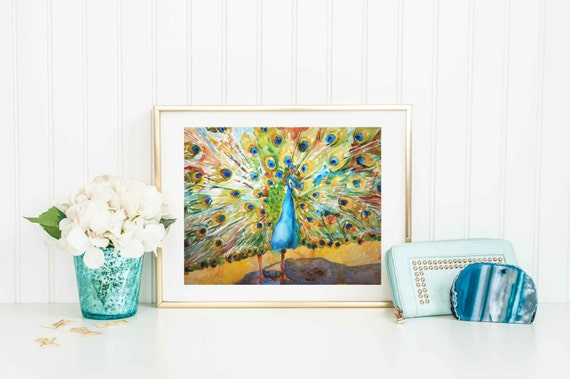 green Bird | Peacock art | Fine art print | Art from watercolor painting | turquoise yellow green | FRAMEABLE PRINT