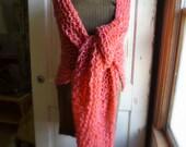 Pink Coral Hand Knit Shawl Plus Size Shawl Ladies Shawl