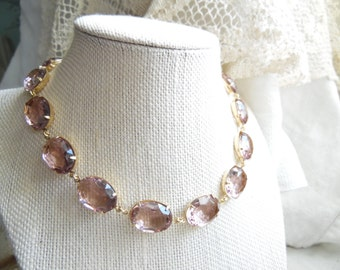"Anna Wintour necklace, collet necklace, Georgian jewelry, purple statement necklace, amethyst crystal, Jane Austen ""Fleurs Améthyste"""