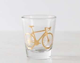 Precious Metals Bicycle Shot Glass, single 20K gold screen printed bike