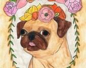 Pug Print, Pug Art, Pug Gifts, Dog Art Print, Dog Lover Gift, Funny Animals, Funny Animal Art, Gifts for Dog Lovers, College Student Gift