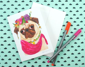 Frida Kahlo Pug Note Card, Funny Greeting Cards, All Occasion Cards, Dog Lover Gift, Pug Art, Friend Card, Blank Card, Cute Cards, Dog Card