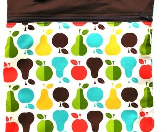 Kitchen or Stroller Wet Bag with Two Top Snap Straps / Apples and Pears Fabric /  SEALED SEAMS