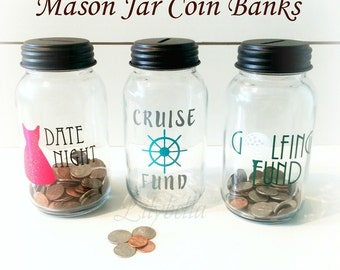 Mason Jar Coin Bank - Mason Jar Bank - Mason Jar - Piggy Bank - Mason Jar Piggy Bank - Coin Jar - Coin Bank -
