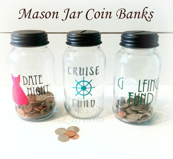 Items similar to mason jar coin bank mason jar bank for Mason jar piggy bank
