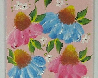 Hand-painted Magnetic Bookmark - Cone Flowers and  Daisies - No. 1200