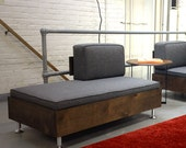 E.F. Sofa Bench w/ backrest   Mid Century Modular seating system