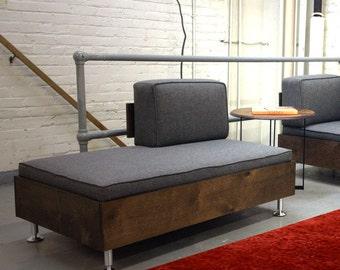 E.F. Sofa Bench w/ backrest   Mid Century Modular seating system