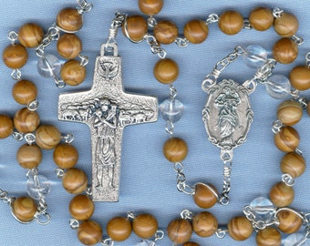 Tiger Jasper and Quartz Stone Rosary for Special Intentions ~ Our Lady Undoer (Untier) of Knots/St. Francis Crucifix
