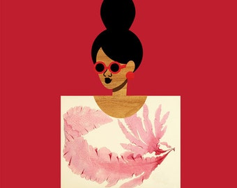 Nautical Postcard Girl Art, (Pink and Red Nautical Art, High Bun Girl Fashion Print, Natural Hair Black Art) Square 12x12  Print