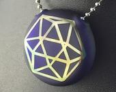 Blue Glass Pendant Flat Hollow Double Sided Reversible Octa Cube Merkaba Fumed - Dan Rushin