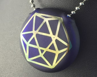 Blue Glass Pendant Flat Hollow Double Sided Reversible Octa Cube Merkaba Fumed - Dan Rushin