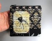 Black Widow - Zippered Pouch - Skulls - Spider - Black - Purple - Yellow - Nevermore - Large - Change Purse - Zippered Case - Gothic - Dark