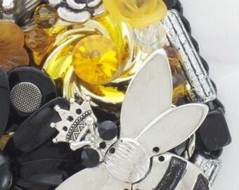Hand Mirror - Queen Bee - Repurposed Jewelry - 55% OFF SALE! - M001062