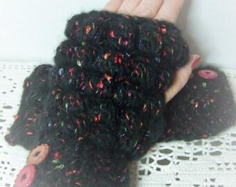 Hand Warmers, Crocheted Gloves, Black Fingerless Mittens, Fingerless Gloves