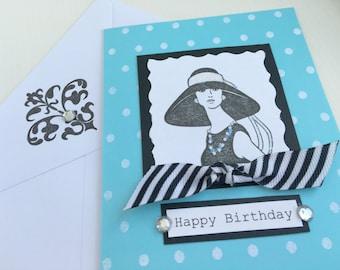 Audrey Hepburn Birthday Card.Happy Birthday.handmade.Chic.Aqua/Black.Breakfast at tiffanys.Breakfast at Tiffany's.blank.hat.dress.greeting.