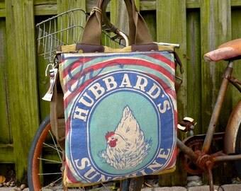 Hubbard Sunshine - Chicken Feed- Minnesota - Americana Vintage Seed Feed Sack Book Tote W- OOAK Canvas & Leather Tote... Selina Vaugha