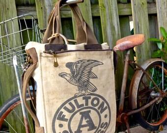 Fulton Eagle Seeds - Chicago - Americana Vintage Seed Feed Sack Book Tote W- OOAK Canvas & Leather Tote... Selina Vaugha