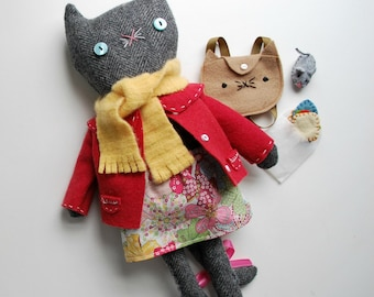 Gray Tweed Suit Coat Kitty with accessories