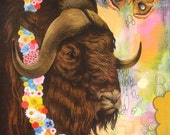 Buffalo with Flower Garland Prize & Moth-Original Mixed Media on Wood-Framed
