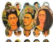Frida Kahlo, in 30 x 40 mm ovals, a vintage printable digital collage sheet no. 424