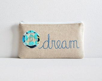 Zipper Pouch Organizer Hand Embroidered dream on Natural Essex Cotton Linen Fabric