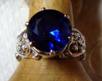 Big Blue Sapphire ring 10mm in wide Filigree sterling silver