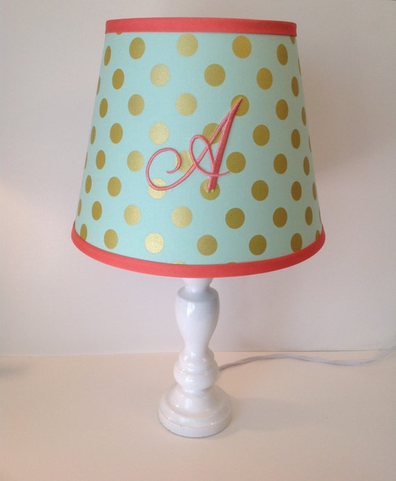 mint green parfait gold metallic polka dots lamp shade other. Black Bedroom Furniture Sets. Home Design Ideas