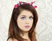 Antler Headband, Lolita Fawn Headband, Hot Pink, Faun, Costume Headpiece, Deer, Antler Headpiece, Sweet Lolita, Mori Kei, Woodland, Cosplay