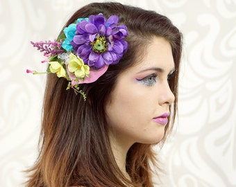 Rainbow Hair Clip, Flower Fascinator, Woodland Headpiece, Fairy, Cosplay, Rockabilly, Pinup Girl, Bridal, Bridesmaid, Costume Headpiece