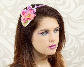 Pastel Pink and Purple Flower Headband, Flower Headband, Bohemian, Woodland, Kawaii, Lolita, Mori Kei