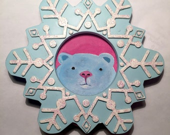 "Original Artwork- 6"" Blue Ice Bear on pink in recycled decorative blue and white glitter detailed snowflake frame"